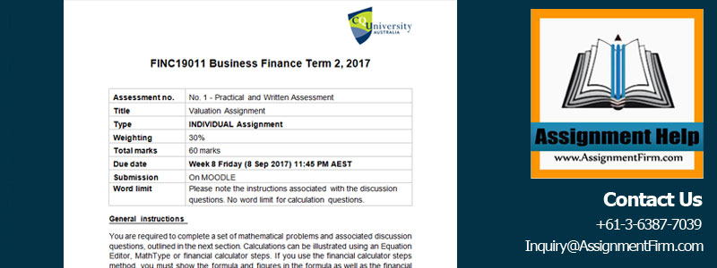 finc business finance valuation assignment questions