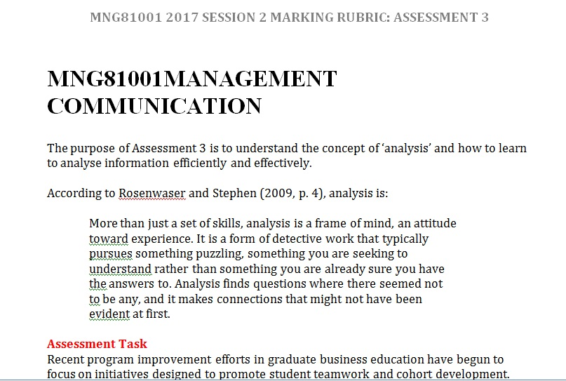 MNG81001 MANAGEMENT COMMUNICATION (CASE STUDY)