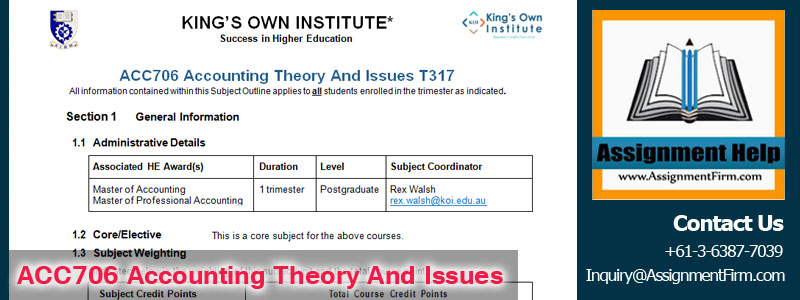 acc theory An introduction to accounting theory – ♦ – 3 theory there are, however, other issues that arise in this example, both implicit and explicit:.
