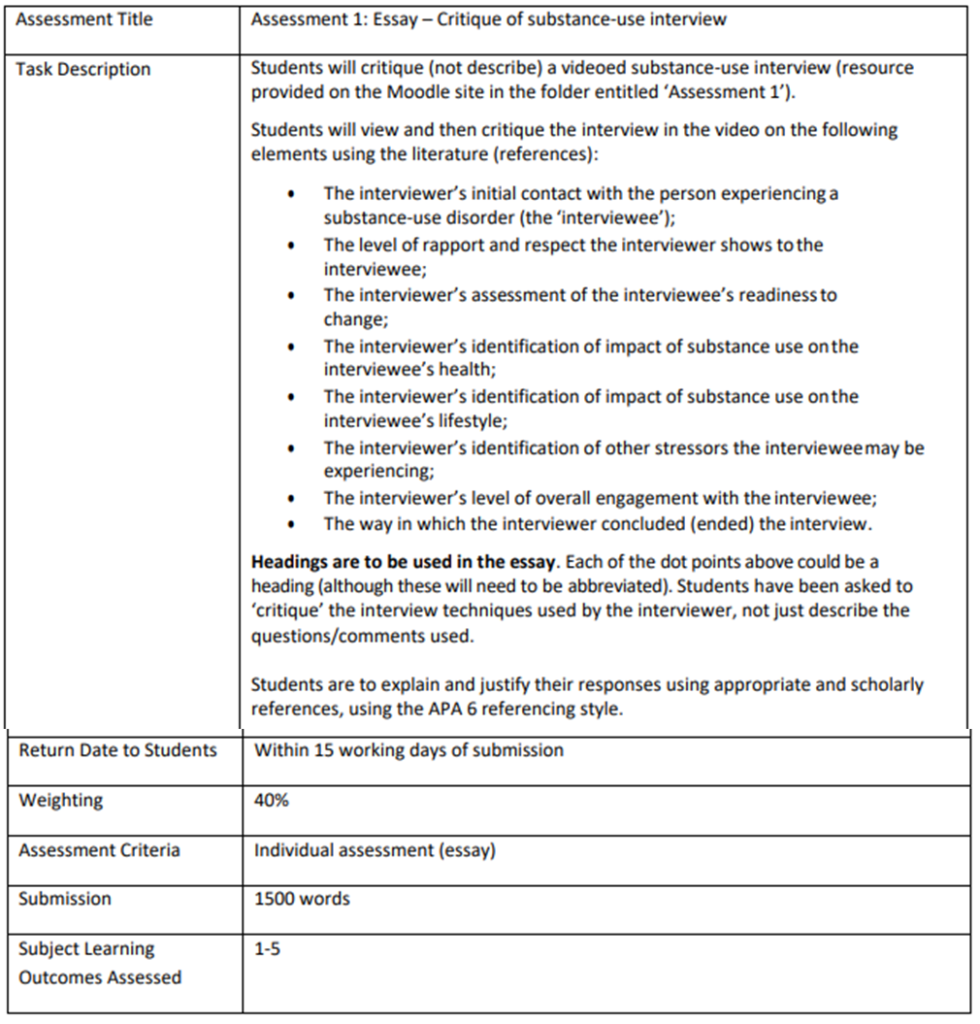 SNPG939 Essay – Critique of substance-use interview Assignment