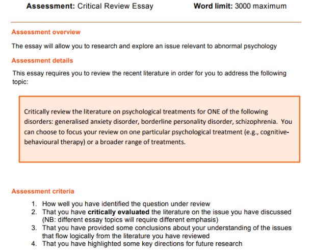 PSY30010 Abnormal Psychology Assignment