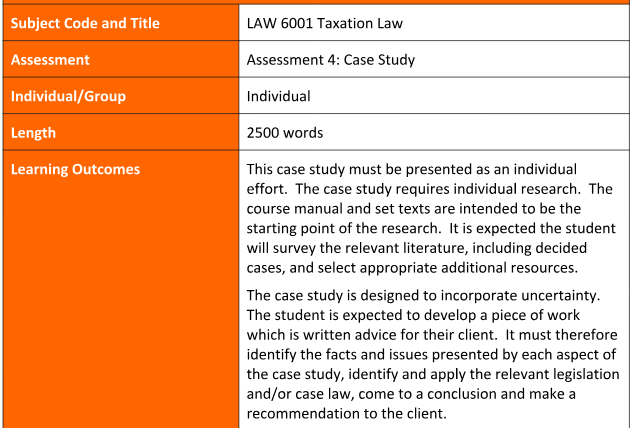 LAW 6001 Taxation Law Assignment